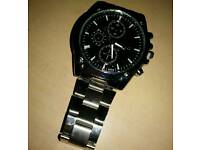 Mens new black face stainless steel wrist watch
