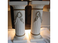 2x Decorative Column Lamp Stands