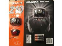 GO LITE 210 TWIN PACK HEAD TORCH BNIP 3 COLOUR LEDs IDEAL FISHING, HIKING ETC