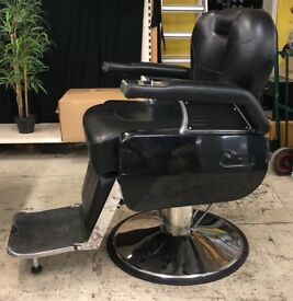 Reclining Black Leather Barber Chair