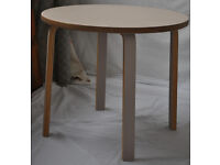 Round coffee table -scandi style with stack edge ply in a pale mushroom