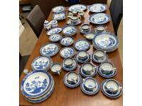 Massive collection of Booths Old willow blue and white dinner service royal Doulton