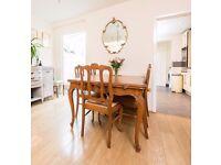 Antique Vintage French Louis Oak Parquet Extending Dining Table & 6 Chairs