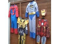 SPIDERMAN, BUMBLEBEE, BATMAN & IRON MAN fancy dress costumes AGE 7-8 £5 each