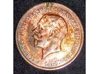 GEORGIVS V 1933 ONE PENNY COIN