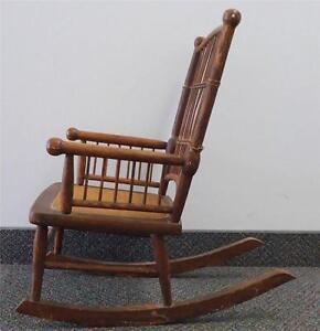Antique Childs Wooden Wicker Cane Rocking Chair Rocker