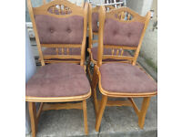 GOOD SOLID CONDITION, A NICE HEAVY WOODEN SET OF 4 DINING CHAIRS