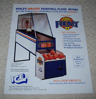 FULL COURT FRENZY II By ICE ORIGINAL NOS BASKETBALL ARCADE GAME PROMO FLYER