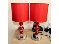 Pair of Lloytron 'Parisian' Table Lamps - Red