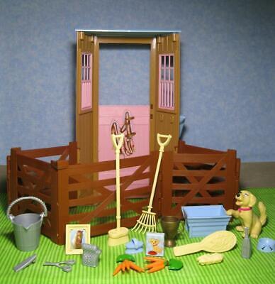 Barbie Doll HORSE RIDING Equestrian WESTERN DREAM Stable/Fence/Dog/Rake/Food Set