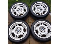 GENUINE BMW E36 M3 MOTORSPORT 17'' INCH ALLOY WHEELS 7.5J FRONT/8.5J REAR 120x5 BARELY USED TYRES