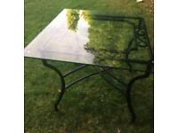 Excellent solid iron table with glass top for sale Hebburn can deliver