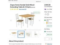 Space Saving Solid Wood Extending 2 seater Table & Chairs (Argos Home - Kendal)