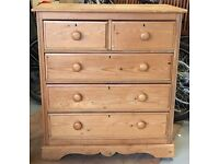 Old solid pine chest of draws 3 + 2