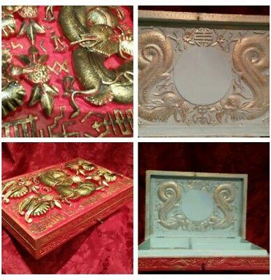 Large 19C Antique oriental DRAGON hand carved box,working lock & key.