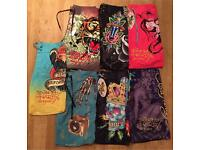 7 pairs of brand new authentic Ed Hardy and Christian Audigier men's swim shorts