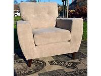 Ex-display Designer Beige Fabric Material Arm Chair.