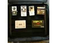 Pedaltrain Pedal Board,1Spot Isolated Power Supply, Earthquaker, Radial, EQD, and MXR Guitar Effects