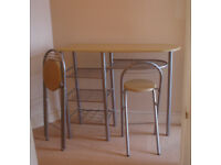 Breakfast bar and 2 chairs - good condition