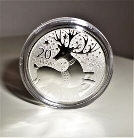 2012 REINDEER - Canadian $20 Dollars 999.9 Fine Silver Christmas Commemorative Coin