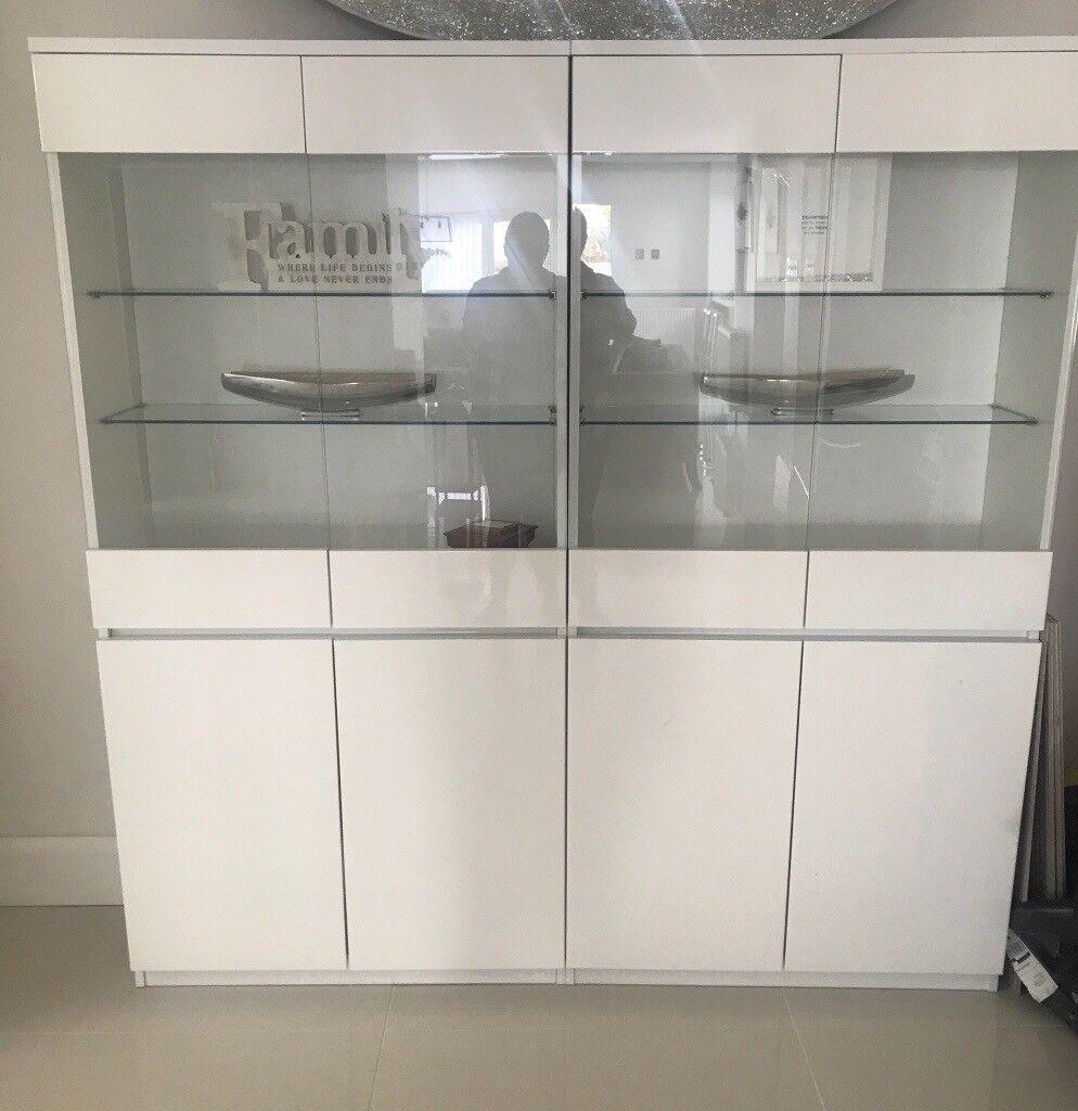 White gloss cabinets X2