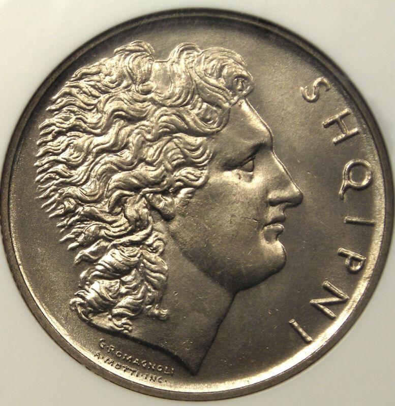 1926R Albania Lek - NGC MS64 - Rare BU Coin!