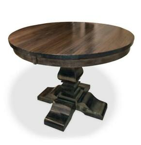Round Table  -  Kitchen or Dining Table -  Solid Wood Table - Maple - Built in Canada by the Mennonites