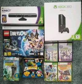 BOXED XBOX 360, KINECT, LEGO DIMENSIONS + GAMES + EXTRAS