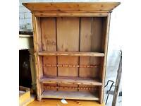 Vintage pine plate rack or display cabinet