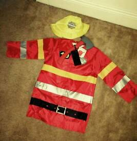 Boys FIREMAN Costume Halloween NEW Accessories Age 3 4 or 5 Years