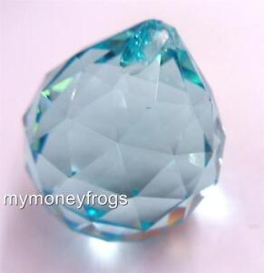 50mm BLUE Crystal Feng Shui Faceted Lamp Part Prism Glass Ball Chandelier Charm