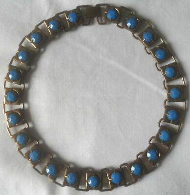 60s -70s Jewelry – Necklaces, Earrings, Rings, Bracelets VINTAGE 1960S BRONZE EFFECT METAL CLAW SET BLUE GLASS STONES COLLAR NECKLACE $25.98 AT vintagedancer.com