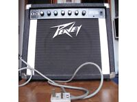Battered and well-used 1980s Peavey Backstage amp. Works, but needs a bit of cleaning.