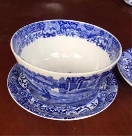 Copeland Spode blue Italian vintage porcelain soup bowl and plate.