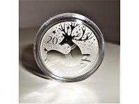 2012 REINDEER - FLAWLESS Canadian $20 Dollars 999.9 Fine Silver Christmas Commemorative