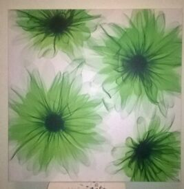 Green flower print canvas