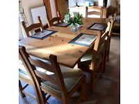 Solid Light Oak Dining Table with 8 Ladderback Chairs