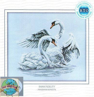 Cross Stitch Kit   Rto Serene Swan Fidelity Bird Pair In Lake  M210