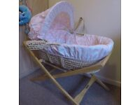 Beautiful Mamas & Papas baby moses basket with stand, mini coverlet and 2 sheets