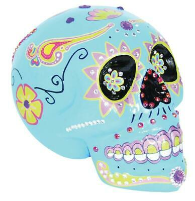 BLUE SUGAR SKULL Painted Halloween Prop Decoration Day of the Dead HAUNTED HOUSE - Sugar Skull Halloween Paint