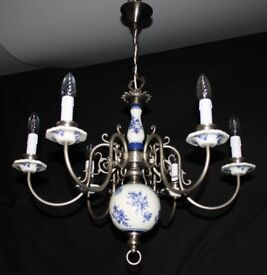 Vintage french tole chandelier large floral toleware ceiling light vintage flemish delft chandelier silver colour metal blue white light ref gmr16 mozeypictures