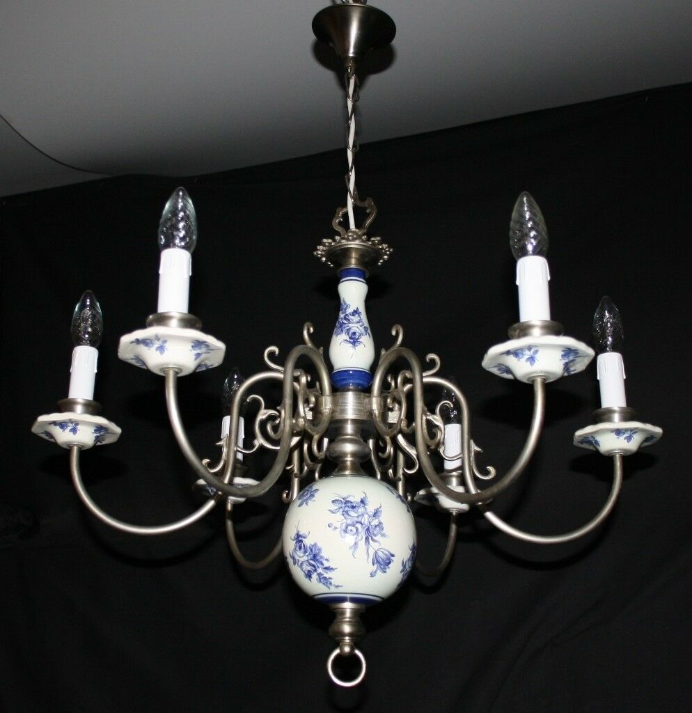 Vintage flemish delft chandelier silver colour metal blue white vintage flemish delft chandelier silver colour metal blue white light ref gmr16 mozeypictures Gallery