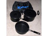KAMPA Cook Set Camping Caravan 2 Saucepans with lids 1 Frying Pan stackable