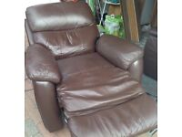 Brown leather suite sofa & 2 reclining armchairs