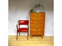 Vintage teak 1960s Avalon tallboy large chest of drawers mid century