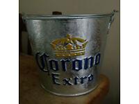 Corona Extra Galvanised Ice Bucket with Bottle Openers and Embossed Logo