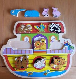 Wooden toys- Noah's Ark Puzzle and 4 wooden vehicles