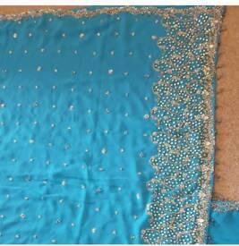 Blue asian saree