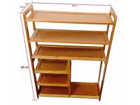 6 Tier Natural Bamboo Shoe Rack Storage Organiser Holder With Boot Space