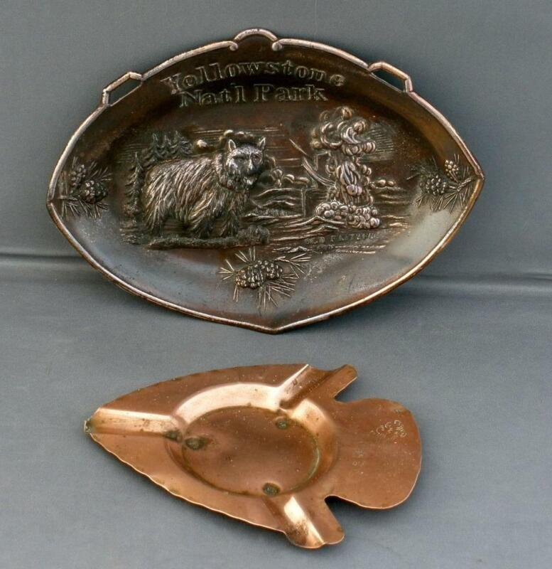 2 Vintage Metal YELLOWSTONE National Park Souvenirs Copper Ashtray & Plaque